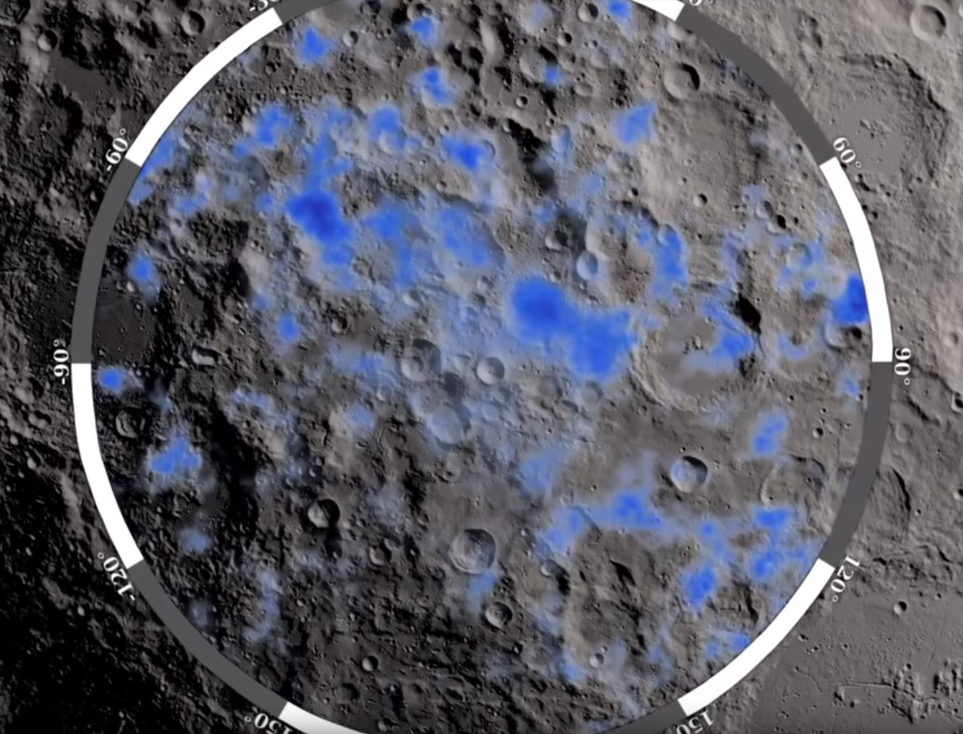 The blue areas show locations on the Moon's south pole where water ice is likely to exist - Image Credits: NASA/GSFC
