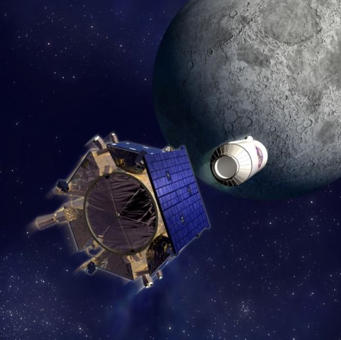 Artist concept of LCROSS and Centaur stage heading for impact. - Image Credits: NASA