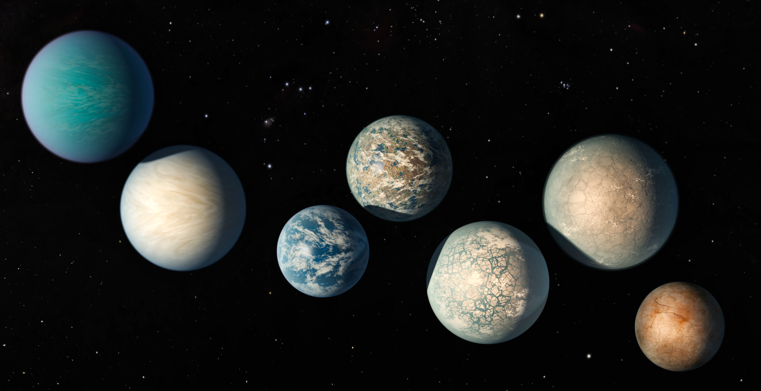 As of today, more than 4000 exoplanets have been discovered. This image shows the amazing set of planets in the TRAPPIST-1 system. Three out of seven of these planets orbit within the habitable zone of their host star.- Image Credit:  NASA/JPL-Caltech  -  HDR tune by Universal-Sci