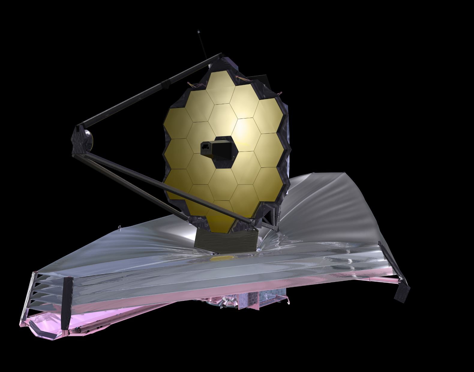 An artist's impression of the JWST with its components deployed - Image Credit:  NASA via Wikimedia Commons