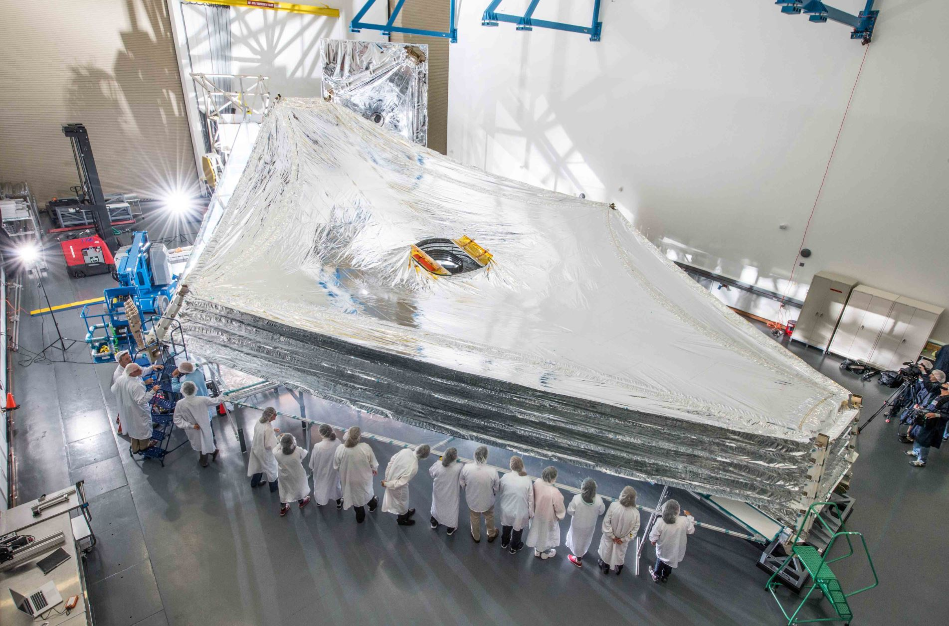 The giant sunshield for the James Webb Space Telescope seen in perspective - Image Credit:  Chris Gunn - NASA Goddard Space Flight Center via Wikimedia Commons