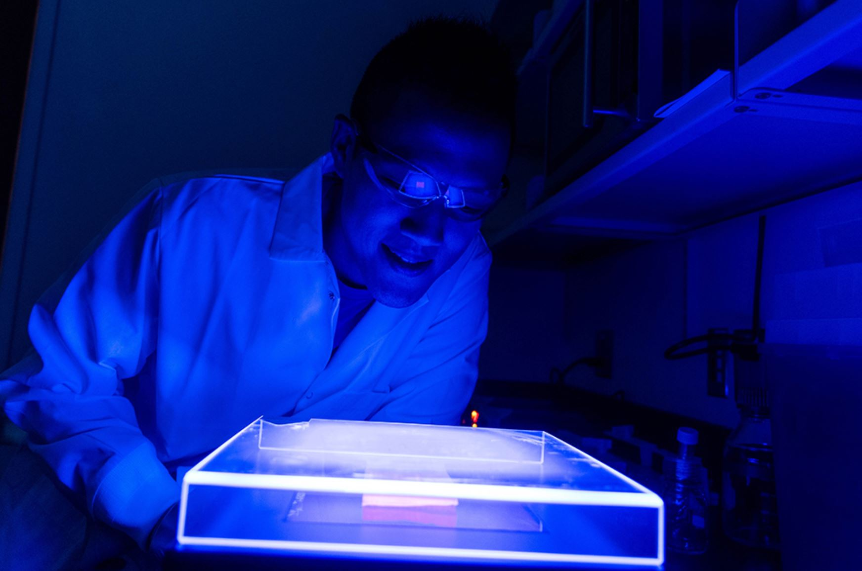 A USF researcher manipulating DNA to engineer E. coli for one carbon conversion - Image Credits: University of South Florida