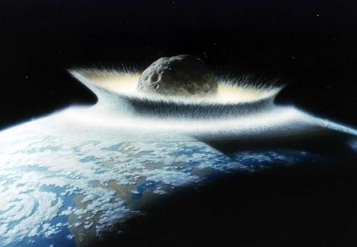 A different type of event is thought to be the causing force behind the mass extinction of the dinosaurs, namely a giant meteor impact - Image Credit:  NASA/Don Davis
