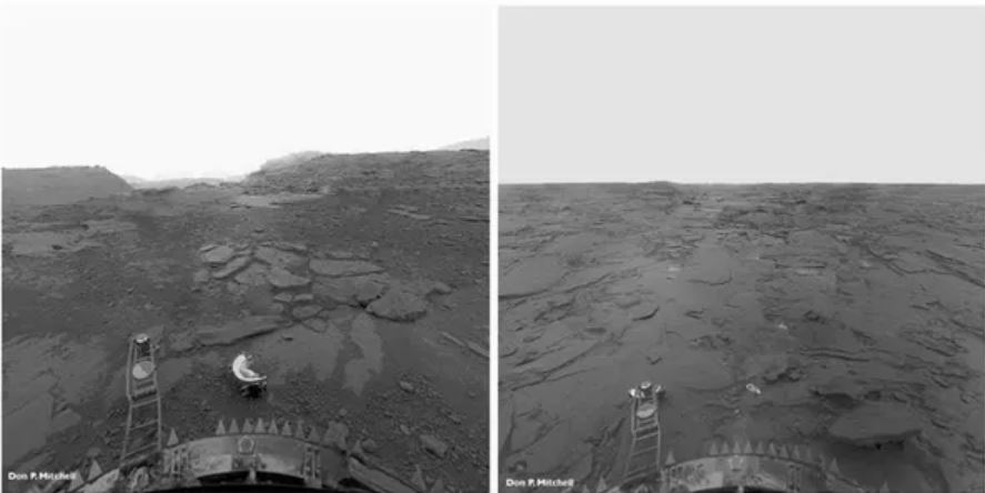 The surface of Venus as seen in these reprocessed perspective image panoramas from the Soviet Venera 13 lander. - Image Credits:  Don P. Mitchell ,  CC BY-SA