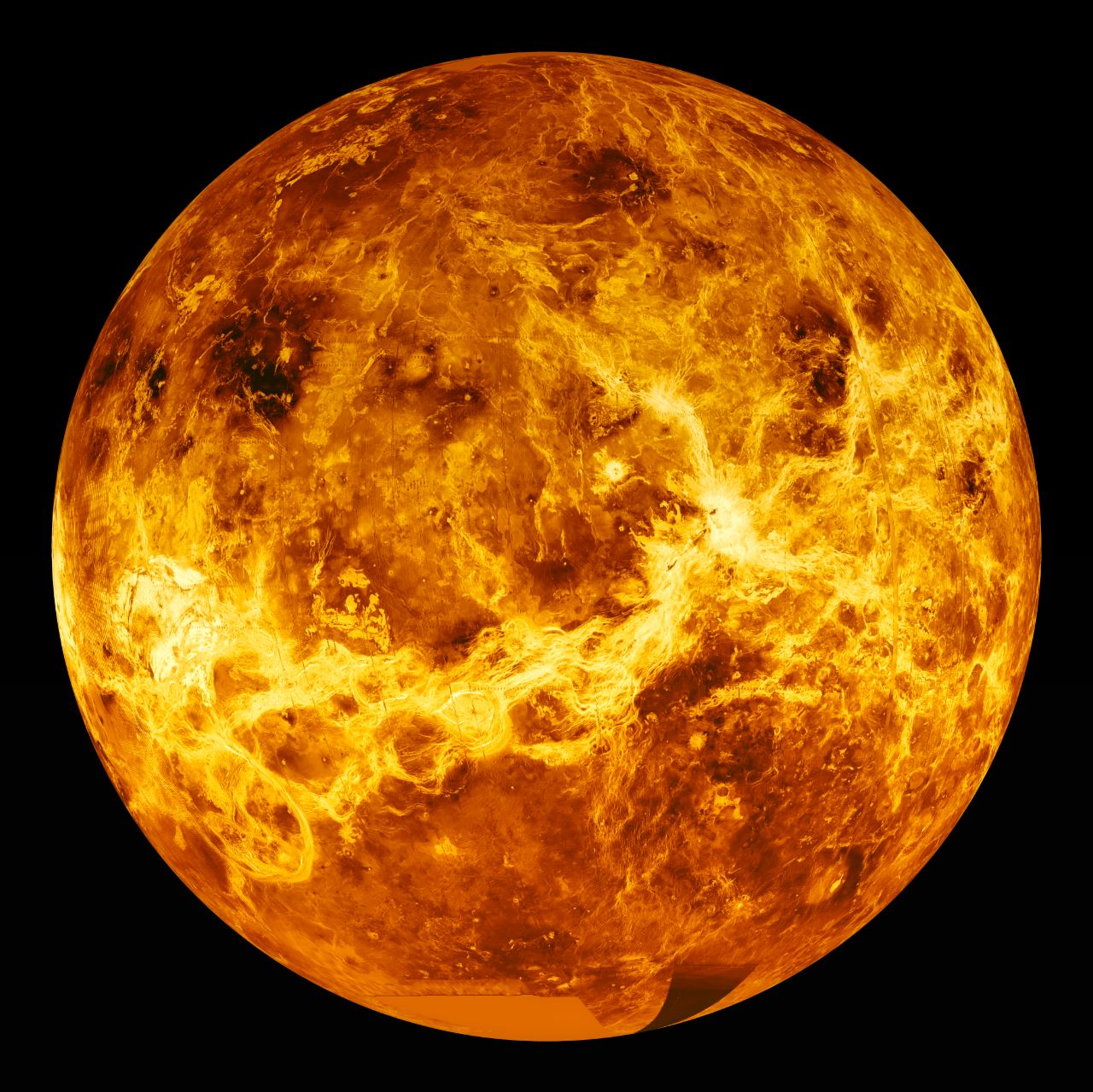 Visible-wavelength light is unable to penetrate the thick cloud layer on Venus. Instead, radar is required to view the surface from space. This is a global radar image mosaic of the planet, compiled with data returned by the Magellan mission. - Image Credits:  NASA via Wikimedia Commons  - HDR tune by  Universal-Sci