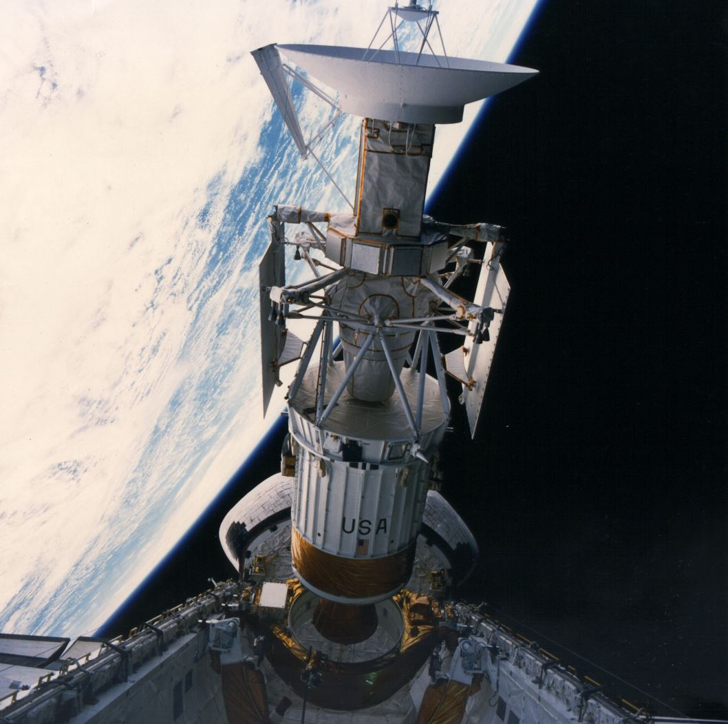 The Magellan mission was launched from Atlantis' cargo bay on May 4, 1982. The spacecraft's high gain antenna is visible at the top of the image - Image Credit:  NASA via Wikimedia Commons  (click to enlarge)