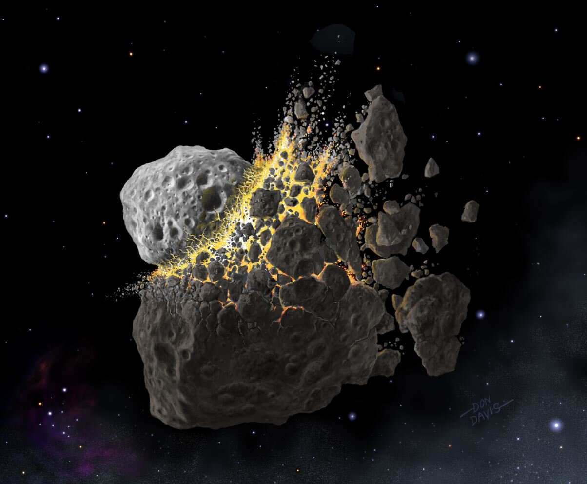 An artists impression of the massive asteroid collision - Image Credit:  (c) Don Davis, Southwest Research Institute