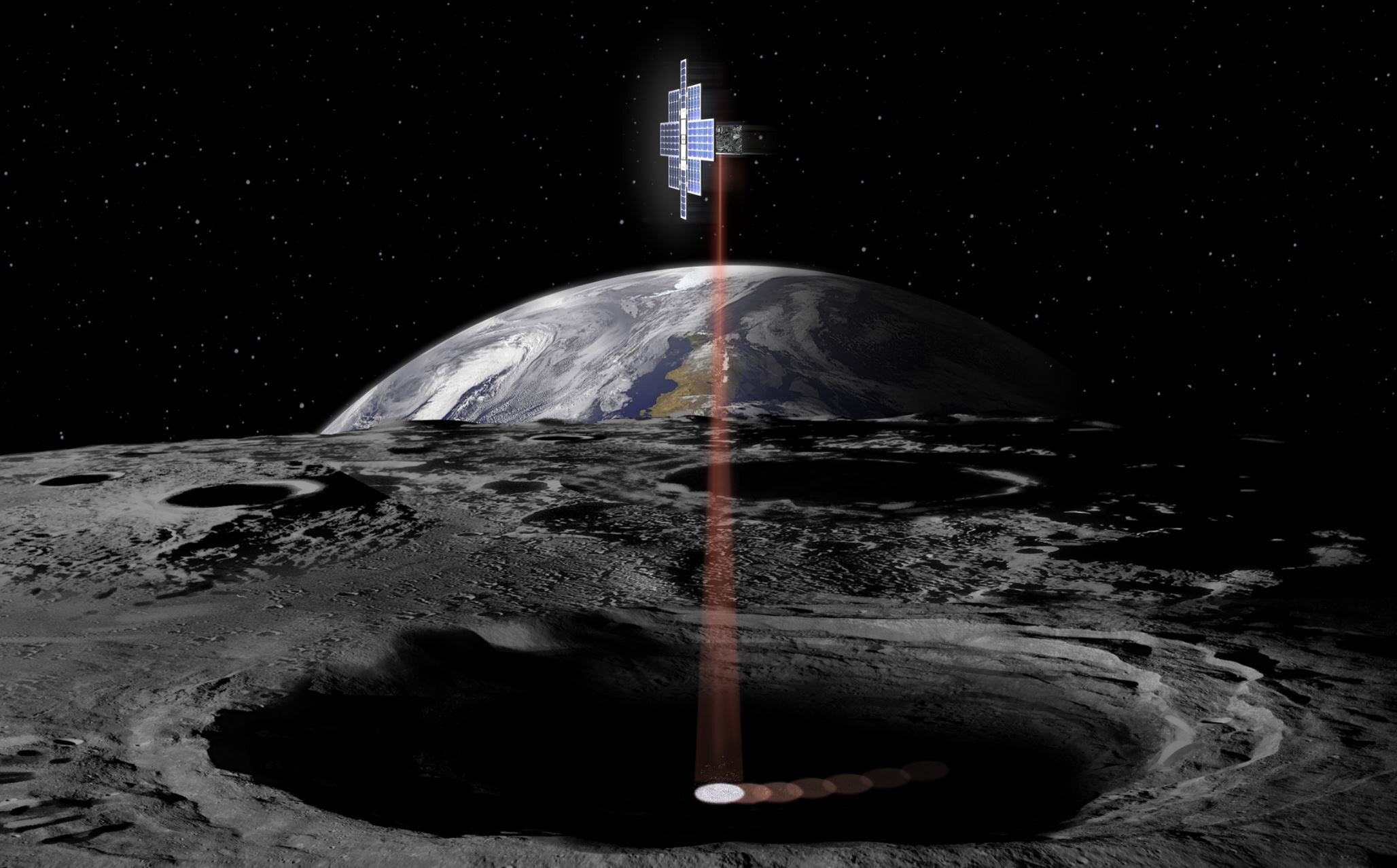Artist concept of lunar flashlight. - Image credit:  NASA/JPL-Caltech