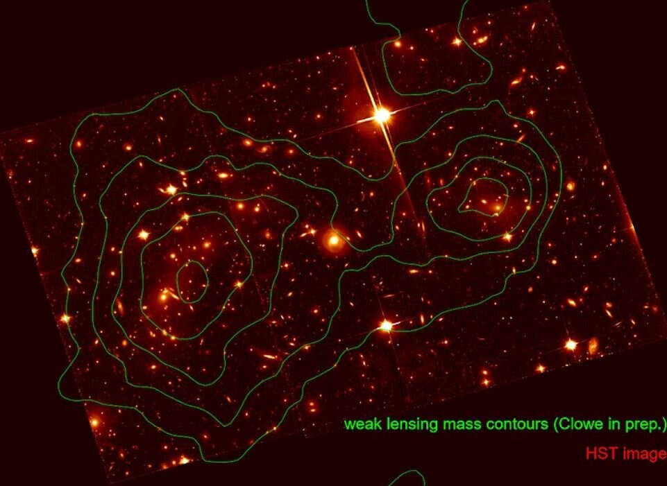 Image of the Bullet Cluster from the Hubble Space Telescope with total mass contours (dominated by dark matter) from a lensing analysis overlaid. - Image Credit:  Mac_Davis / NASA via Wikimedia Commons