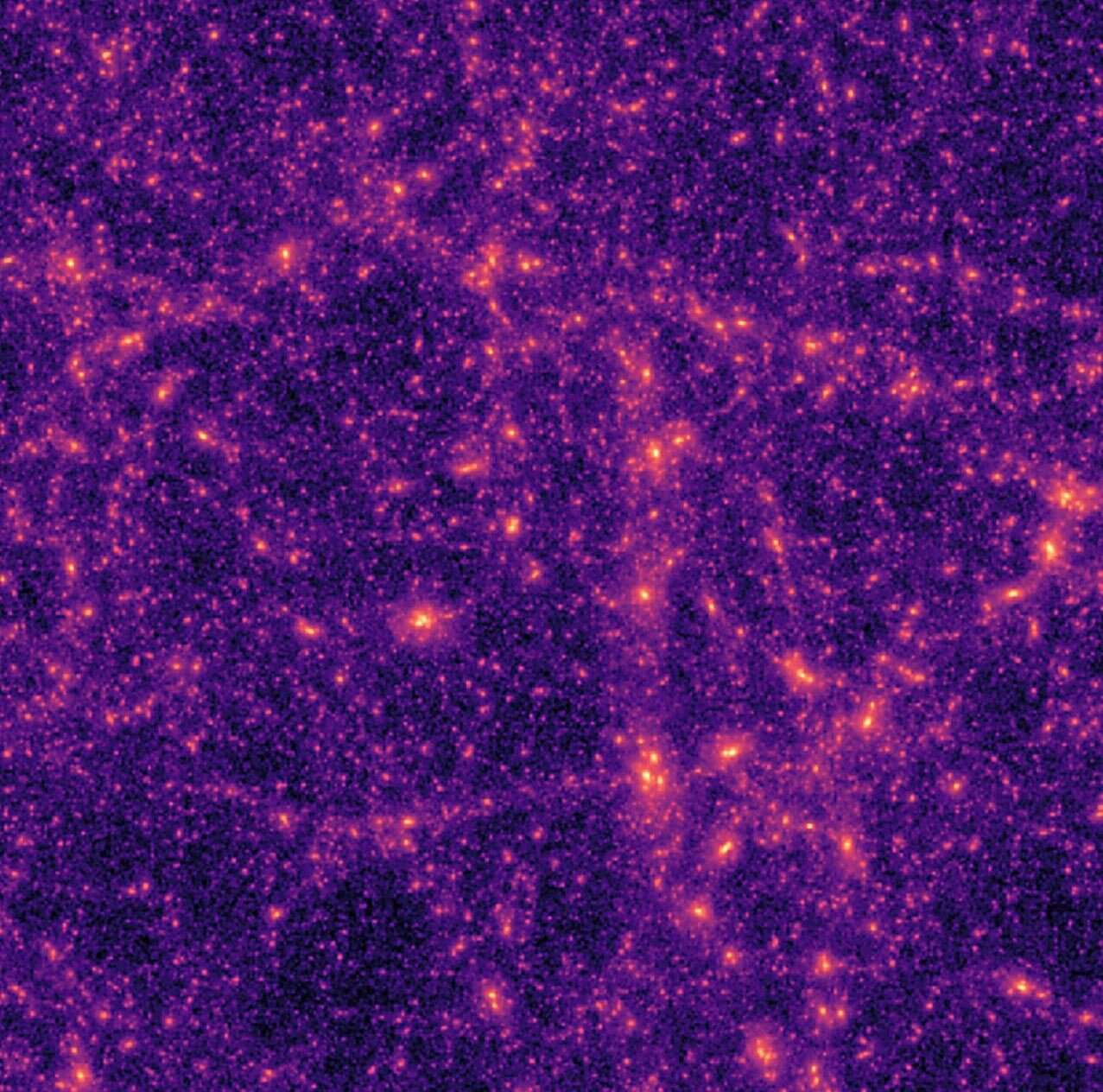 A typical computer-generated dark matter map used by the researchers to train their neural network. - Image Credits:  ETH Zurich