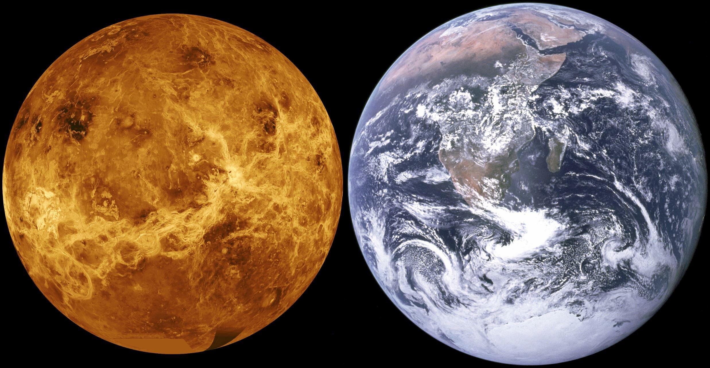 Image Credit:  Earth Image: NASA/Apollo 17 crew / Venus image: NASA via Wikimedia Commons