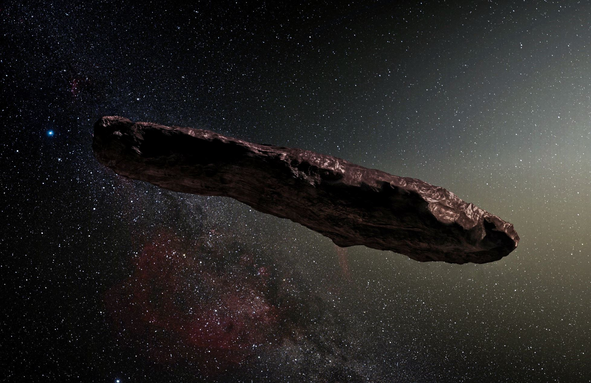 An artist's impression of ʻOumuamua, the first known interstellar object to pass through our Solar System - Image Credit: Original:  ESO/M. Kornmesser, Derivative: nagualdesign via Wikimedia Commons  - HDR tune by  Universal-Sci
