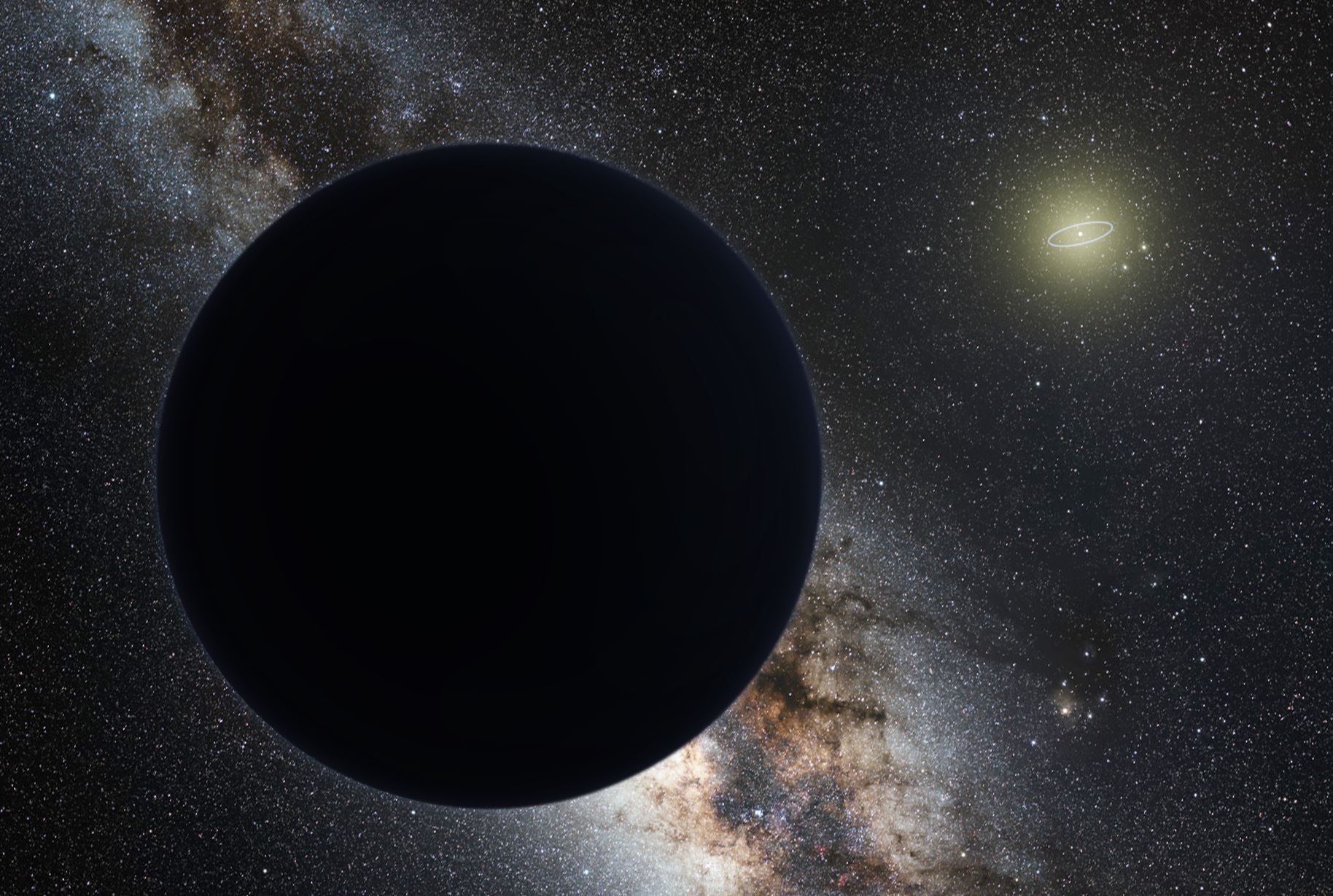 An artist's impression of planet 9, showing the rest of our solar system in the far distance - Image Credit:  nagualdesign; Tom Ruen / ESO via Wikimedia Commons