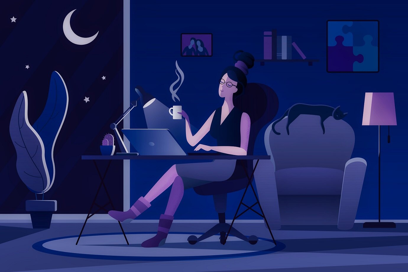 Night owl burning the midnight oil - Image Credit: Lemberg Vector studio via Shutterstock / HDR tune by Universal-Sci