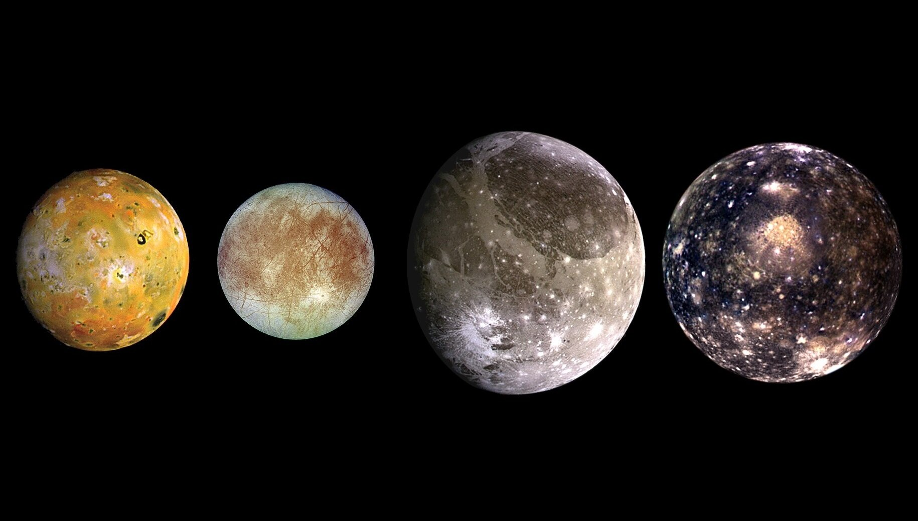 From left to right: Io, Europa, Ganymede and Callisto - Image Credit: NASA/JPL/DLR / Edited for aspect ratio by Universal-Sci