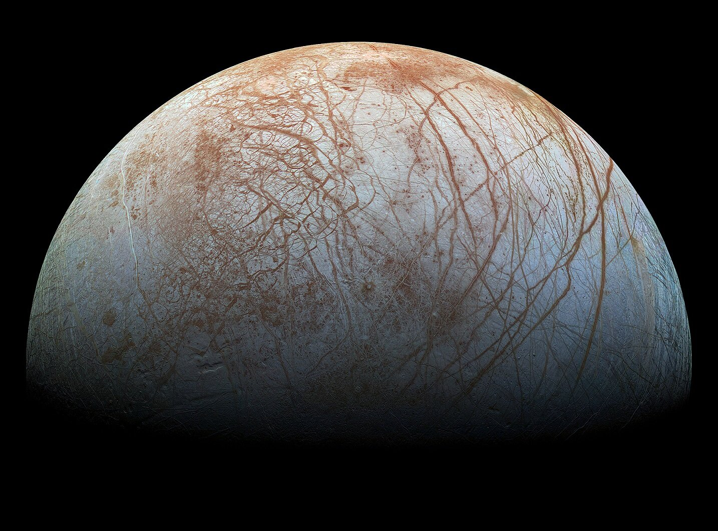 The captivating surface structure of Europa up close - Image Credit: NASA / Jet Propulsion Lab-Caltech / SETI Institute via Wikimedia Commons