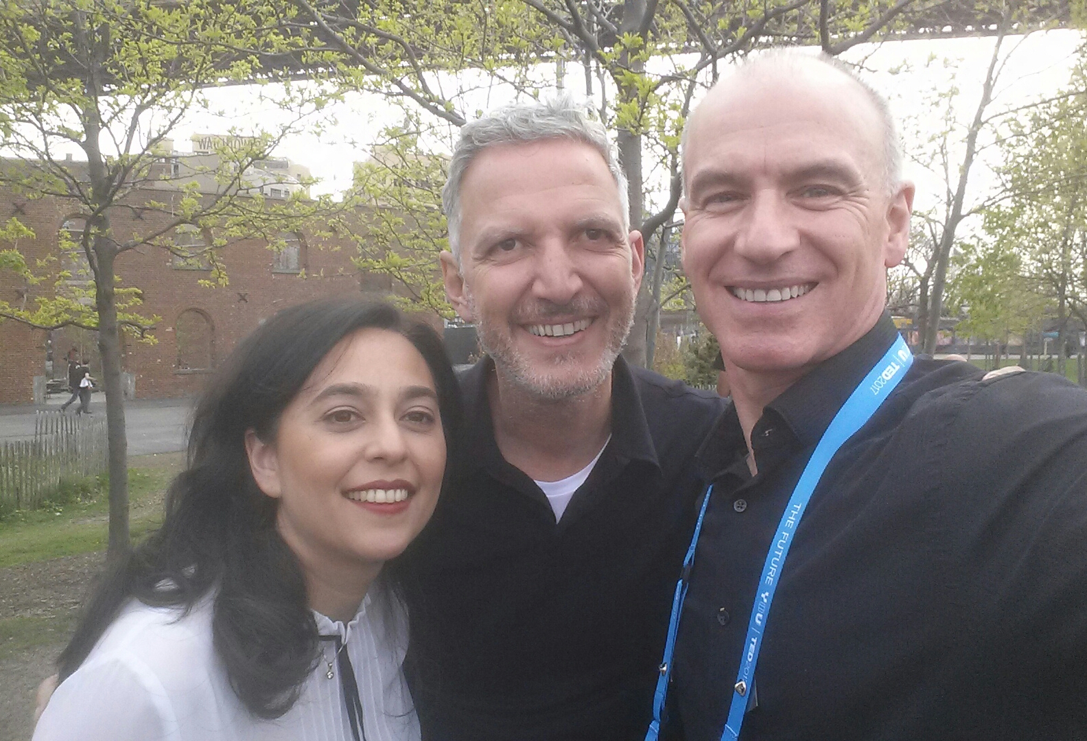 (Left to right) Salome Heusel (TED's Deputy Director of TEDx), Jay Herrati (TED's Executive Director of TEDx), and Bob Vasile at TEDFest 2017