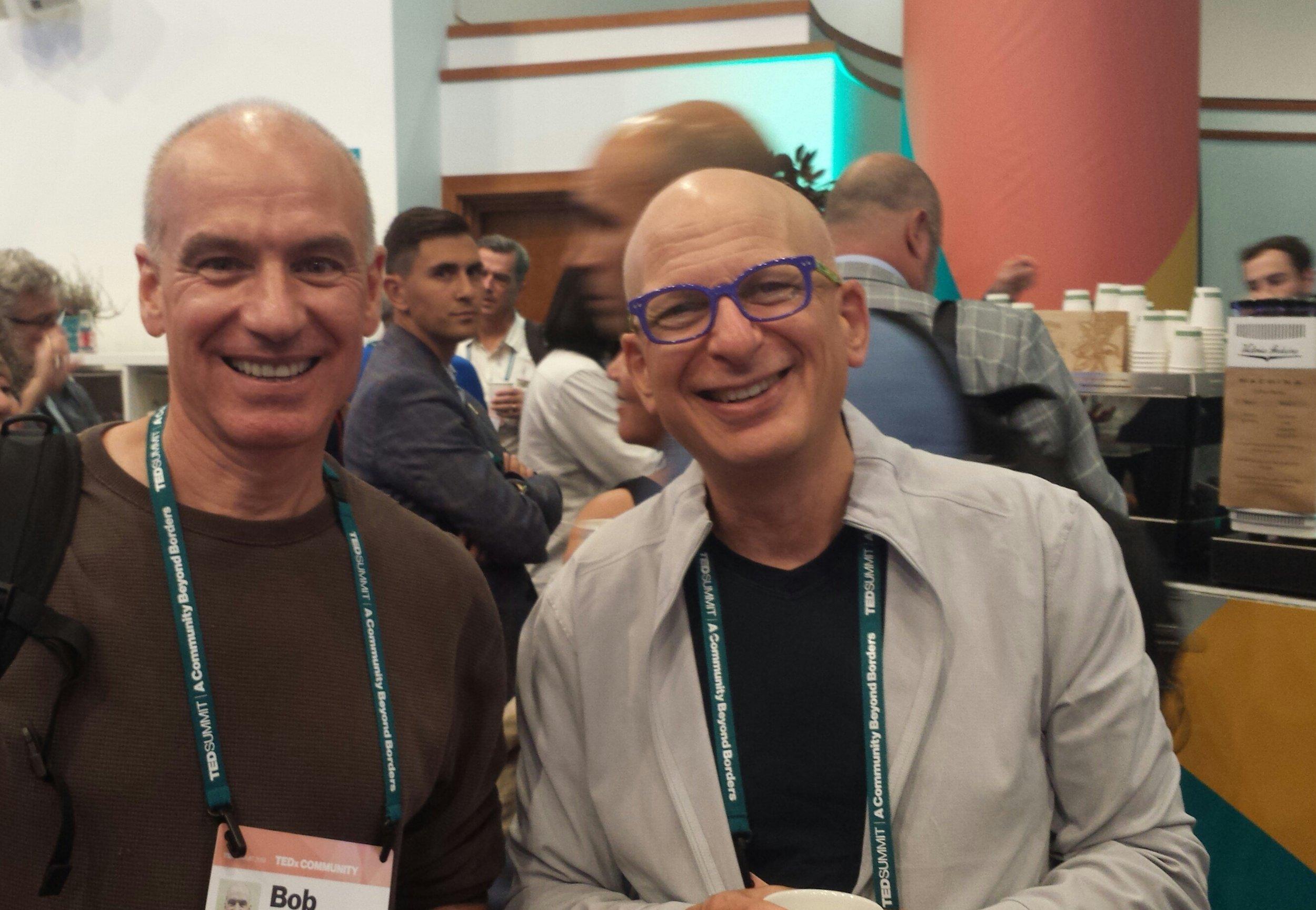 Bob Vasile with Seth Godin at TEDSummit 2019 in Edinburgh, Scotland