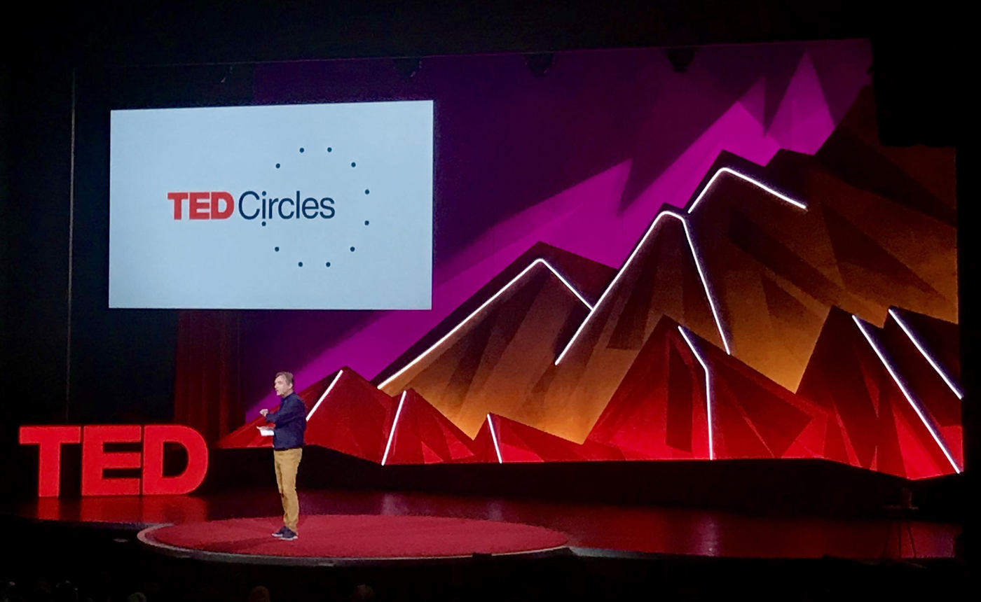 TED's Chris Anderson at TEDSummit in Edinburgh, Scotland announcing TED's new initiative TED Circles. TEDxLancaster Executive Director Bob Vasile was in attendance and TEDxLancaster has volunteered to participate as one of just 150 pilot hosts from 40 countries to host TED Circles before it launches worldwide in January 2020.