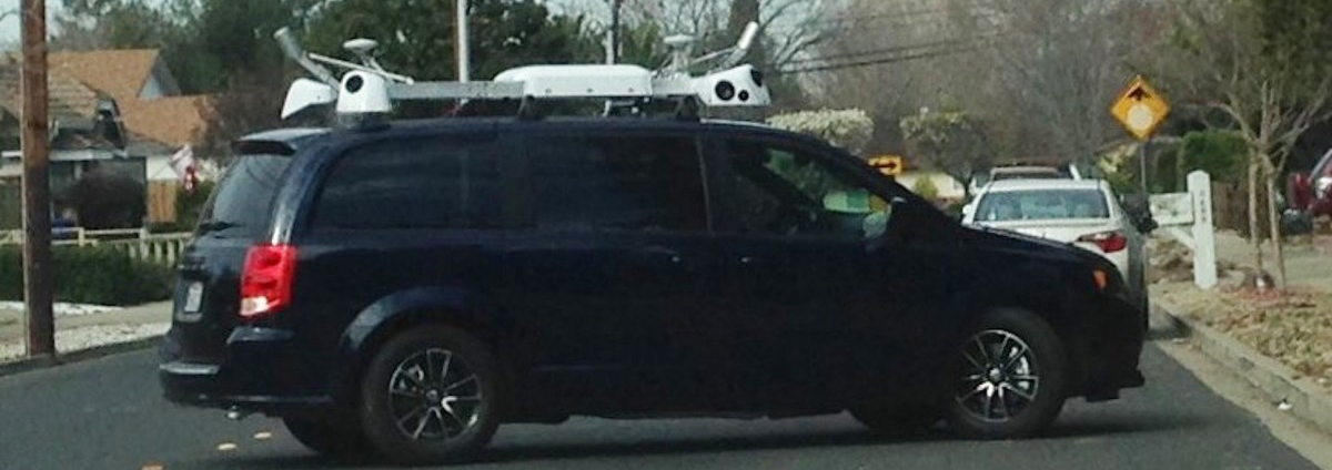 """Apple's alleged """"self driving car"""" (read: Apple's probably Street View Car) - Claycord"""