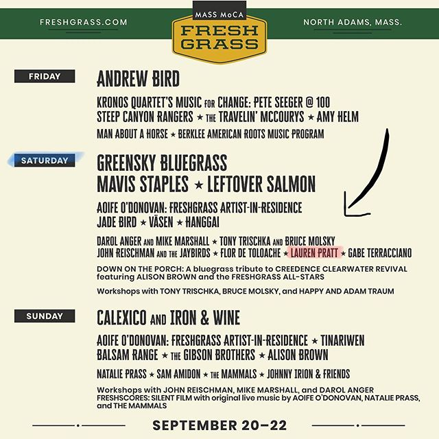 See you at @massmoca for @freshgrassfest Saturday, September 21! tix on sale now: freshgrass.com #freshgrassfest #massmoca #nodepression . . . . . #singersongwriter #massachusettsmusic #laurenprattmusic #youngamericansycamore