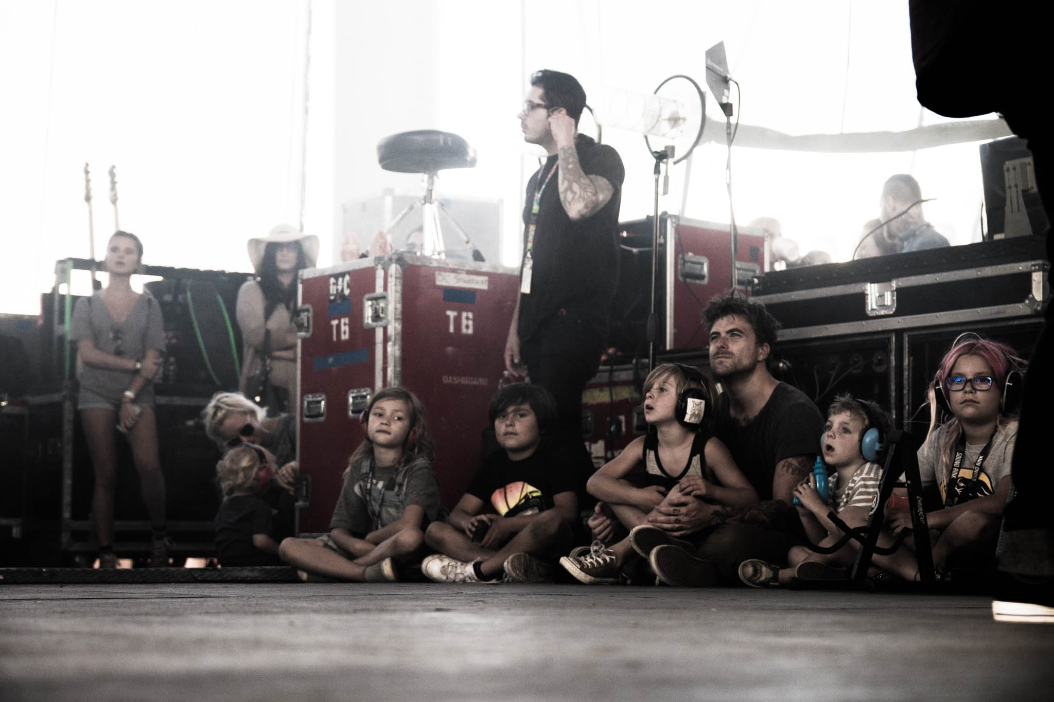 Anthony Green watching Taking Back Sunday with the kids.