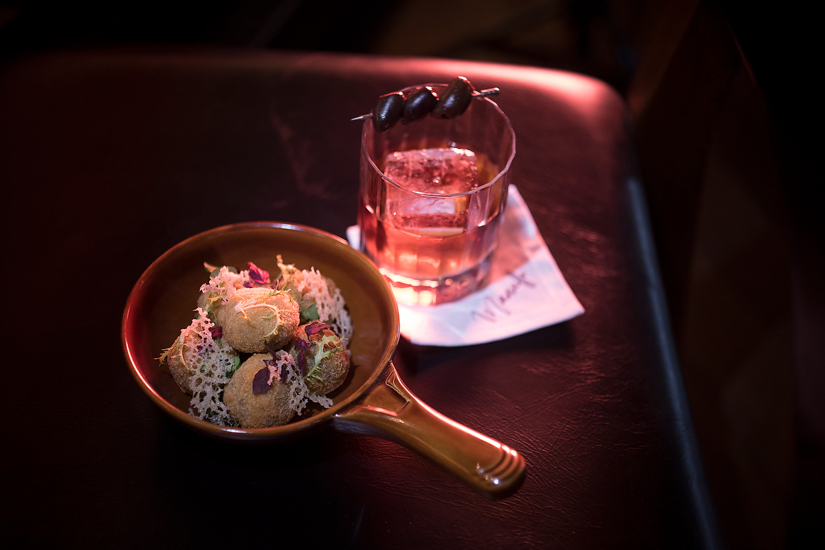 Marcello_Truffle Arancini and Smoked Black Olive Negroni.JPG