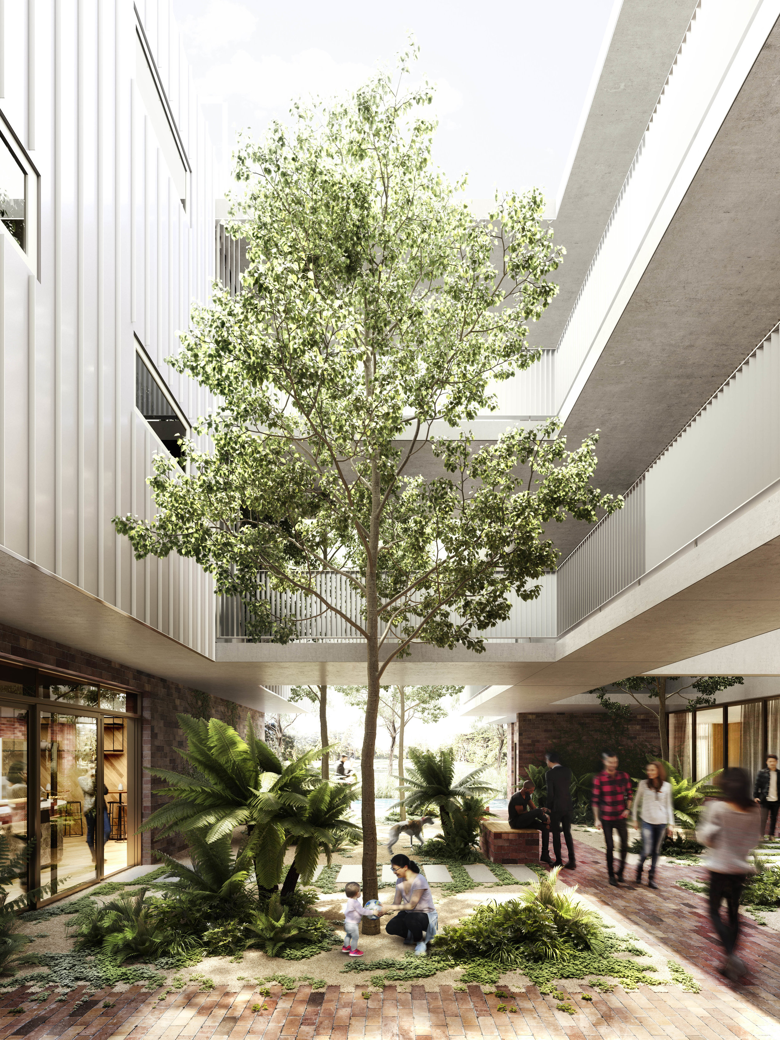 Nightingale Fremantle - sun drenched courtyards and values-aligned commercial tenancies encourage connection to both community and nature. Render: Mr. P Studios