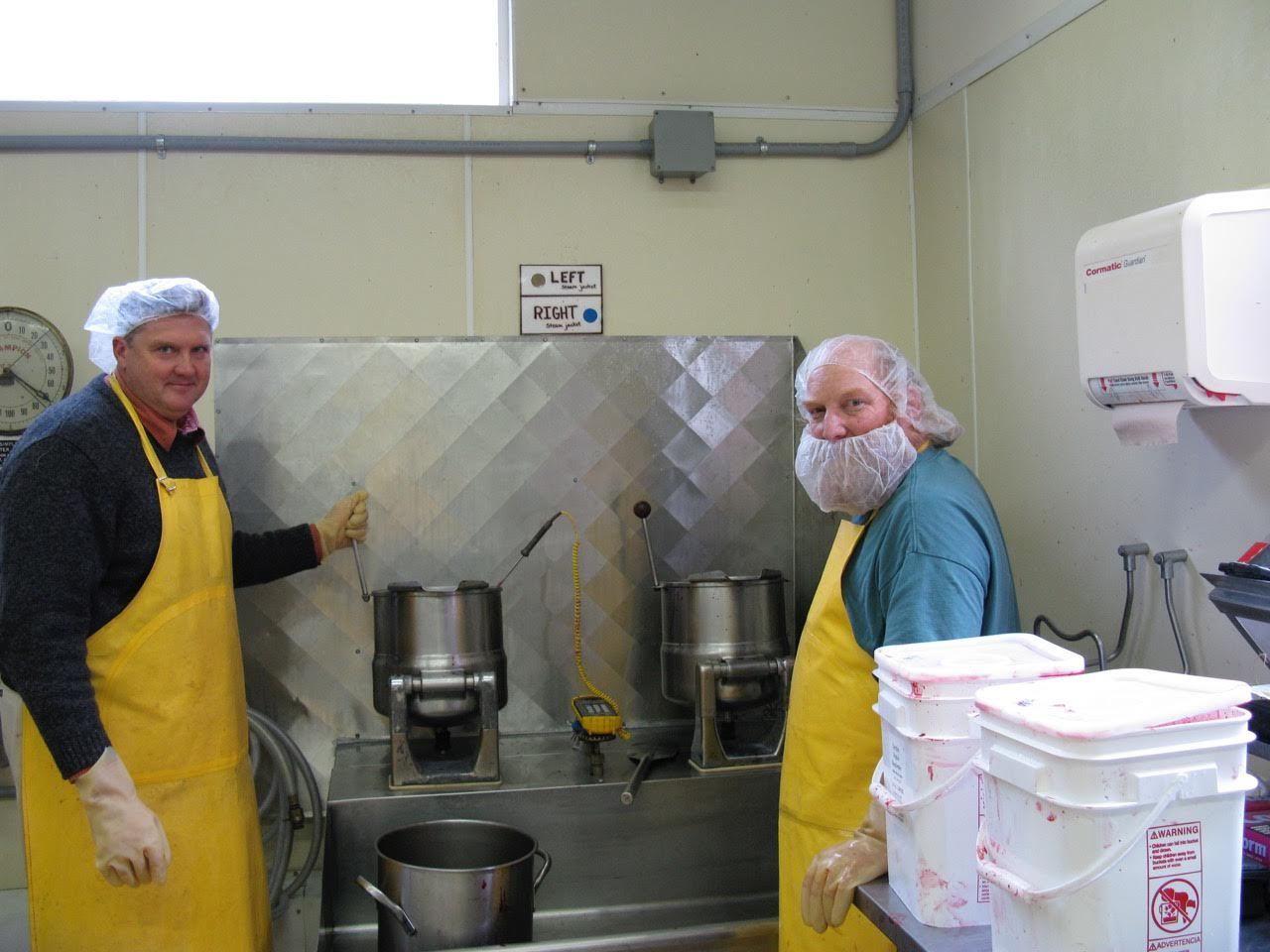 Anthony (left) at the vat.
