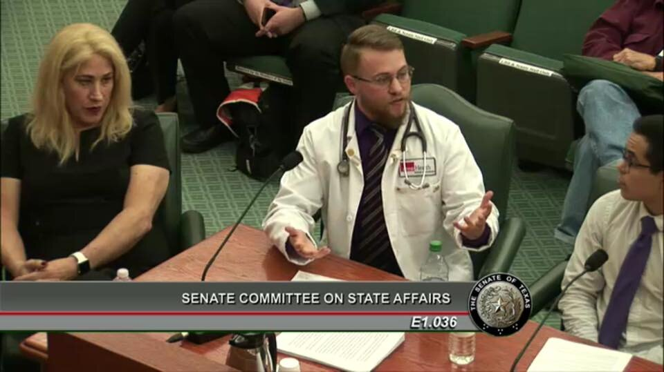 Gave    testimony    to the Texas Senate Affairs Committee against SB6
