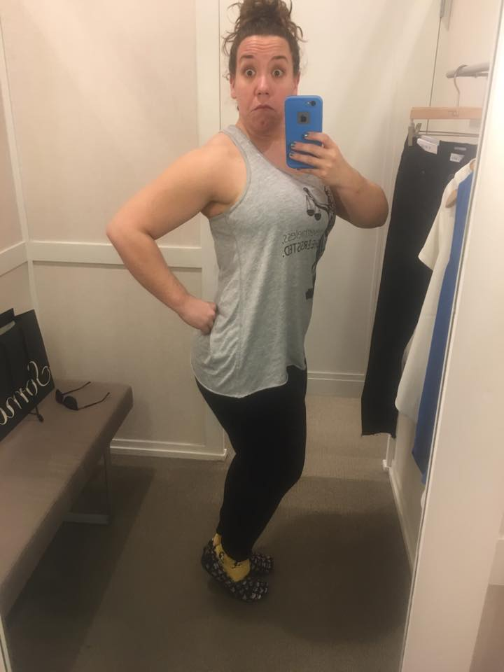 Being silly in a dressing room this week. Happy, healthy, and beyond the exercise demons.