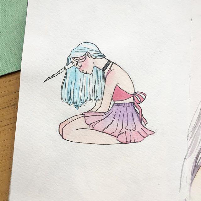A few weeks old sketch 🦄✨ #sketch #watercolor #sketchbook
