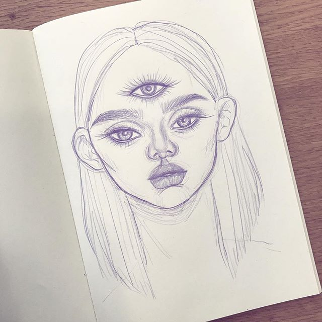 Sketch 💜👁 might turn this into a finished piece.. #sketchbook #sketch #thirdeye