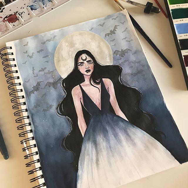 Something spooky🦇🖤 #watercolors #watercolorpainting #halloween #ink #bats #halloween2017