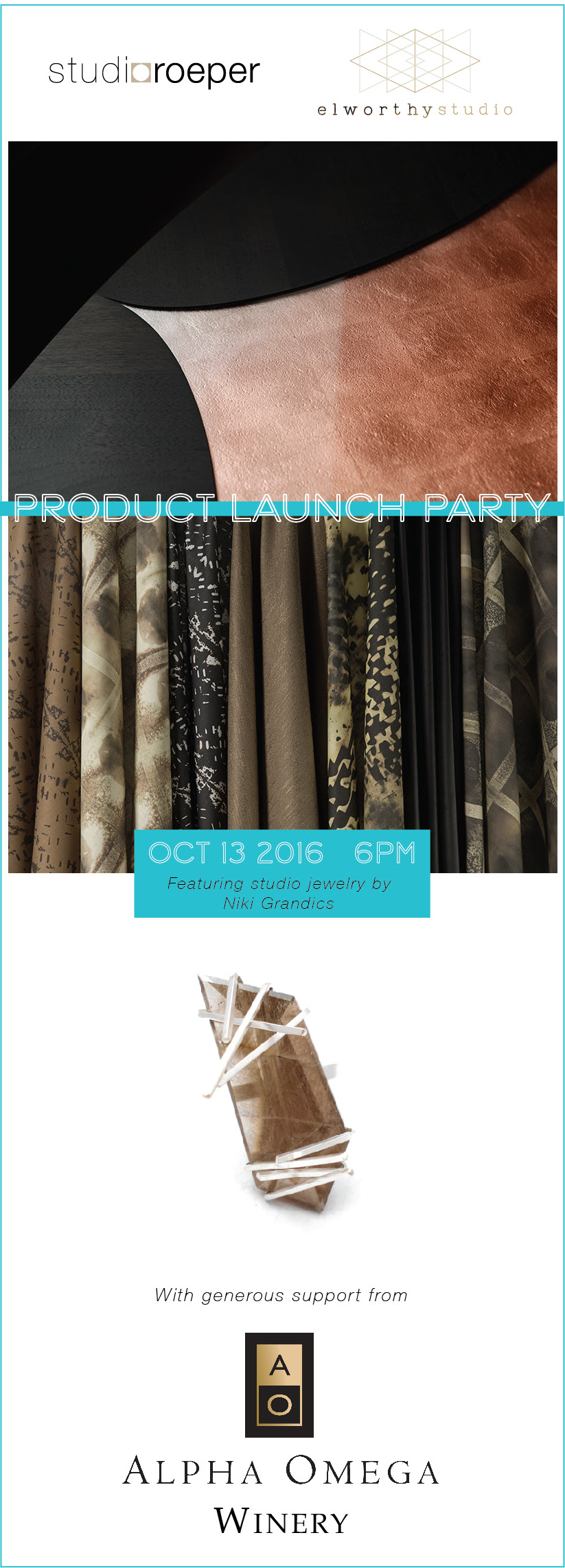 Join us October 13th from 6-10pm for a trunk show featuring new designs at Studio Roeper in San Francisco! See you there!