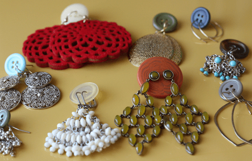 - Buttons are also a great way to keep earrings together