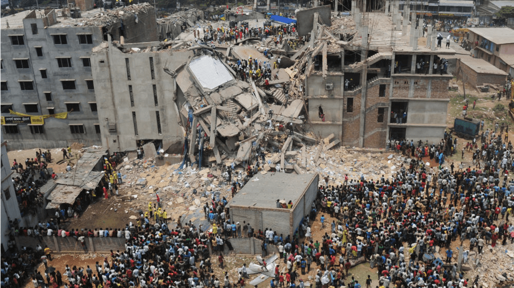 Rana Plaza after it collapsed in 2013, via Fashion Revolution