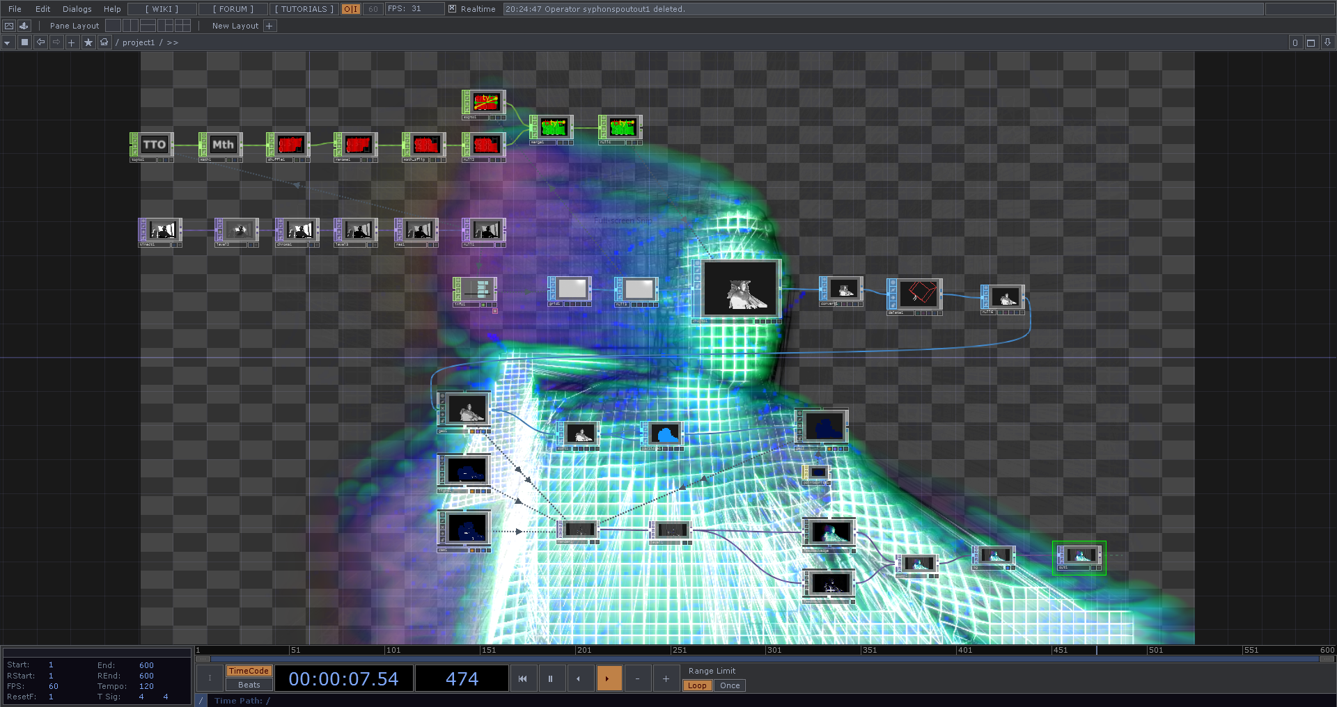 Screenshot from TouchDesigner software