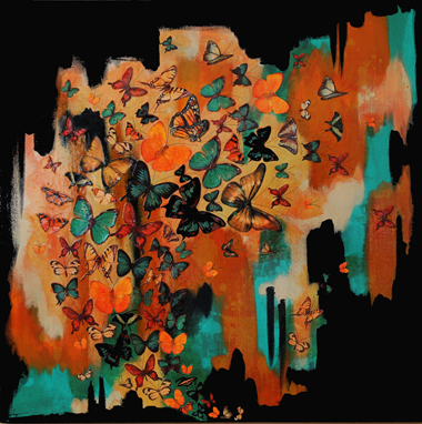 Butterflies on Black, Ochre, Aqua , 76x76cm £850
