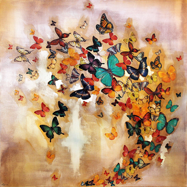 Butterflies on Ochre,  76x76cm £850