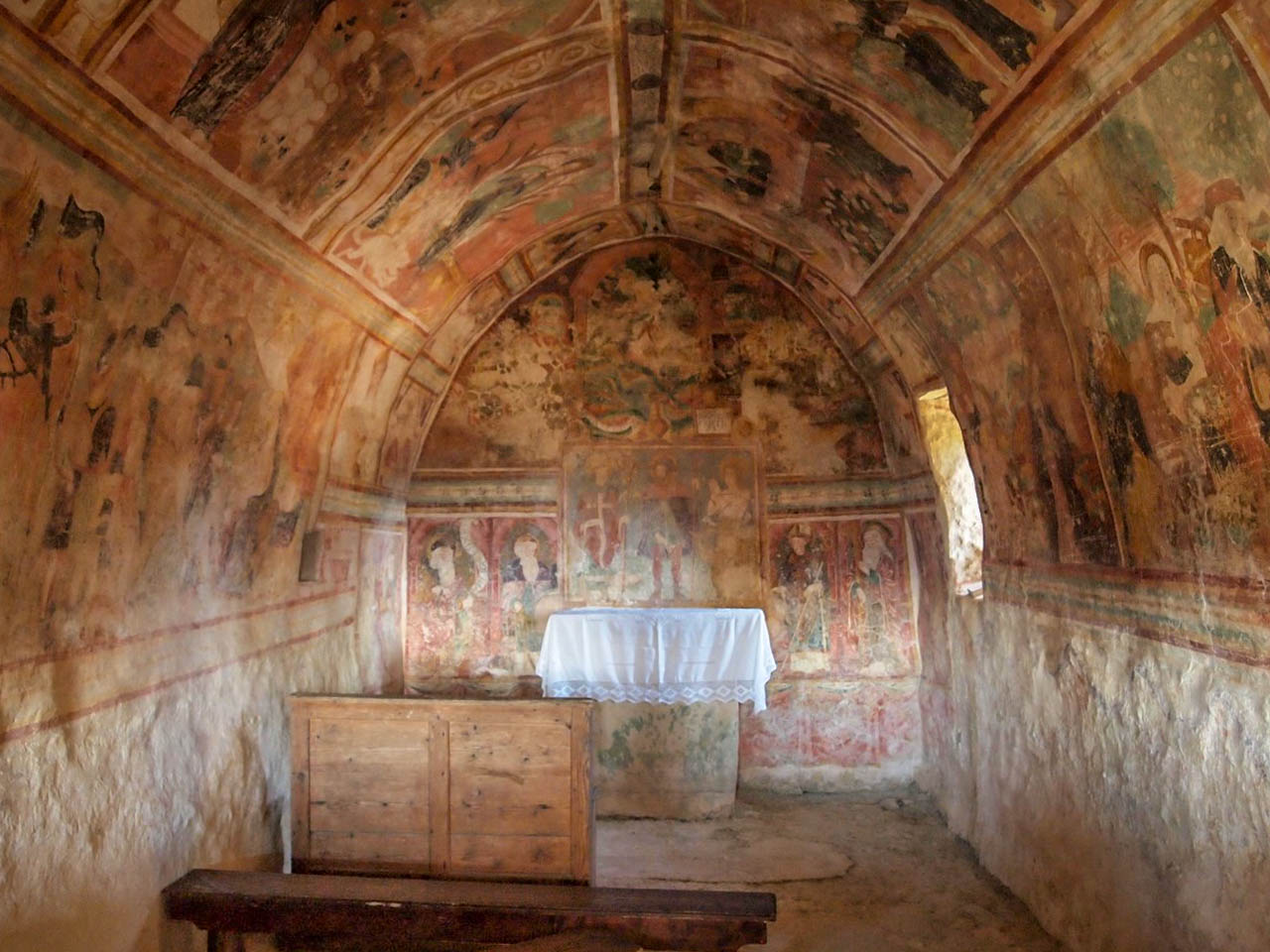 The frescoes inside of the St Rok Chapel
