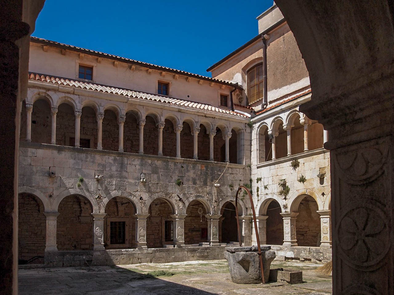 The romanesque cloister in Sv Petar u Sumi