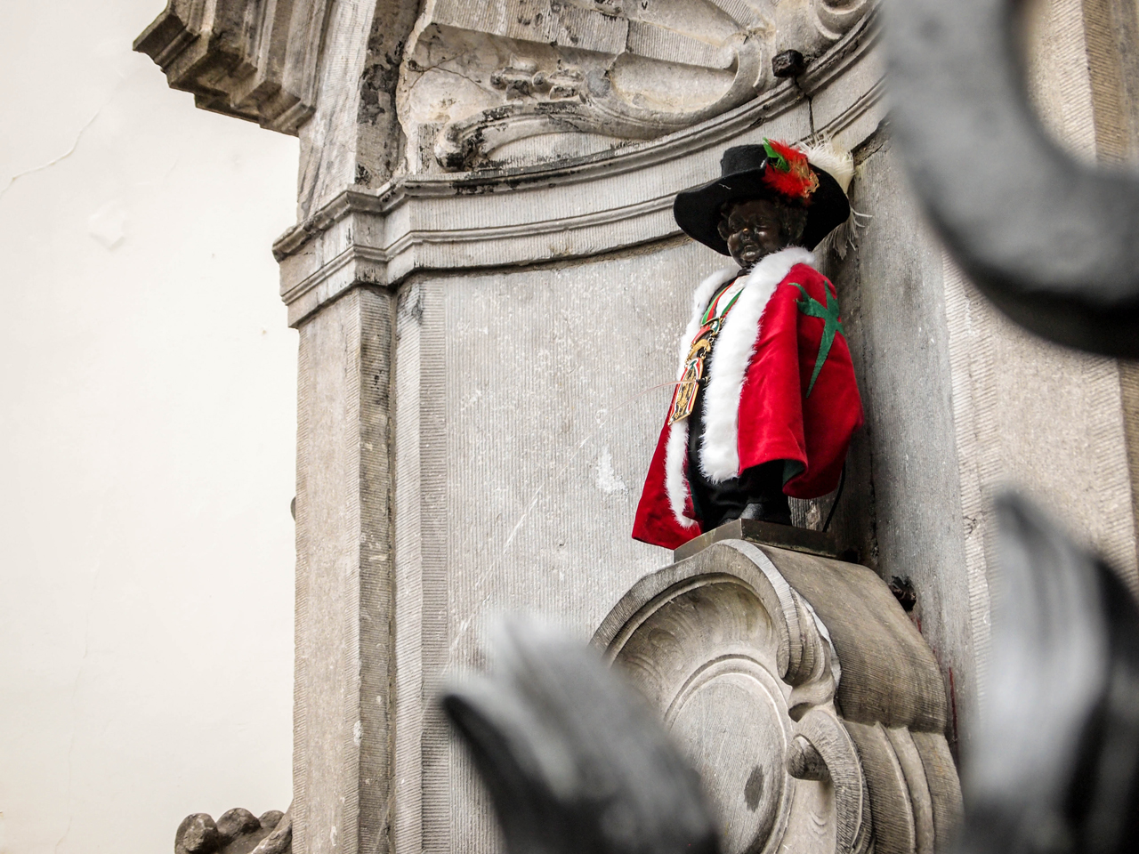 The statue of Manneken Pis dressed in... something :)