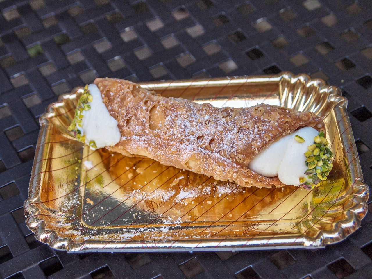Cannoli for breakfast from Dolceria Bonajuto in Modica!