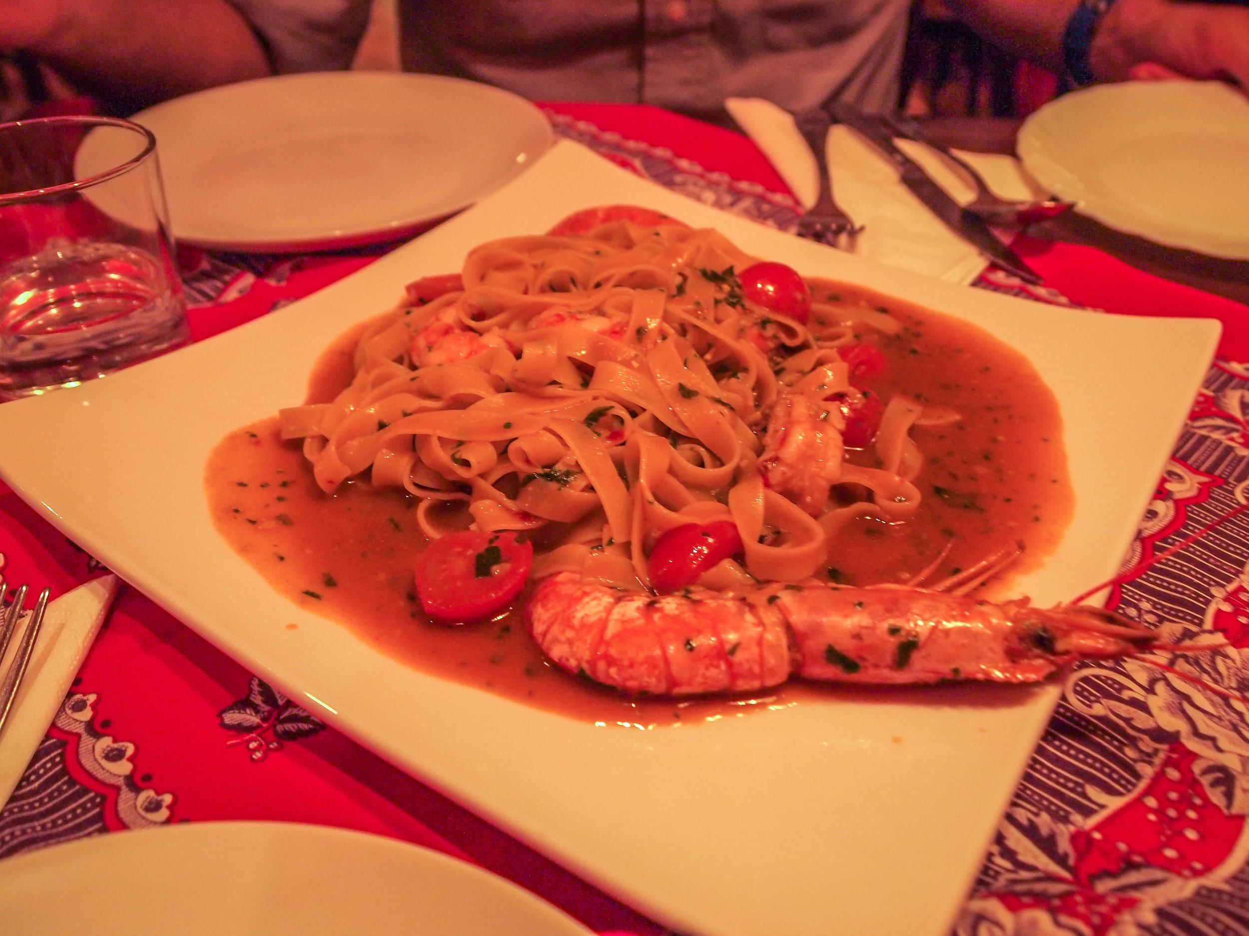 Pasta con gambero rosso in the La Brace restaurant
