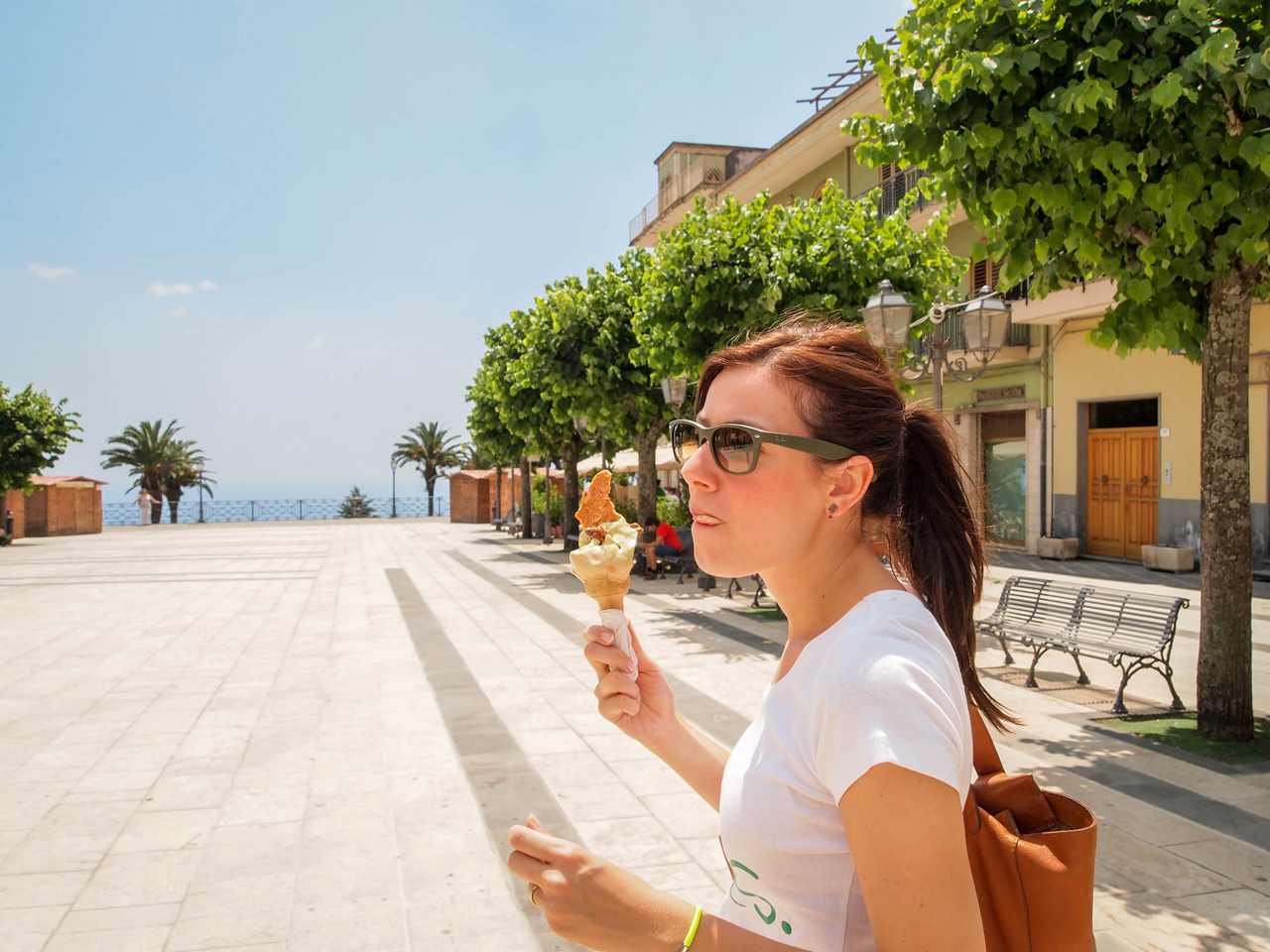 Enjoying the best gelato on the main square of Zafferana Etnea