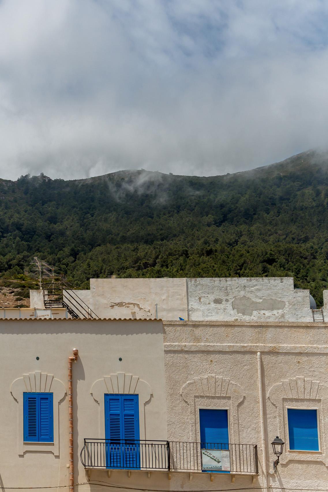 Blue shutters of Marettimo, Sicily