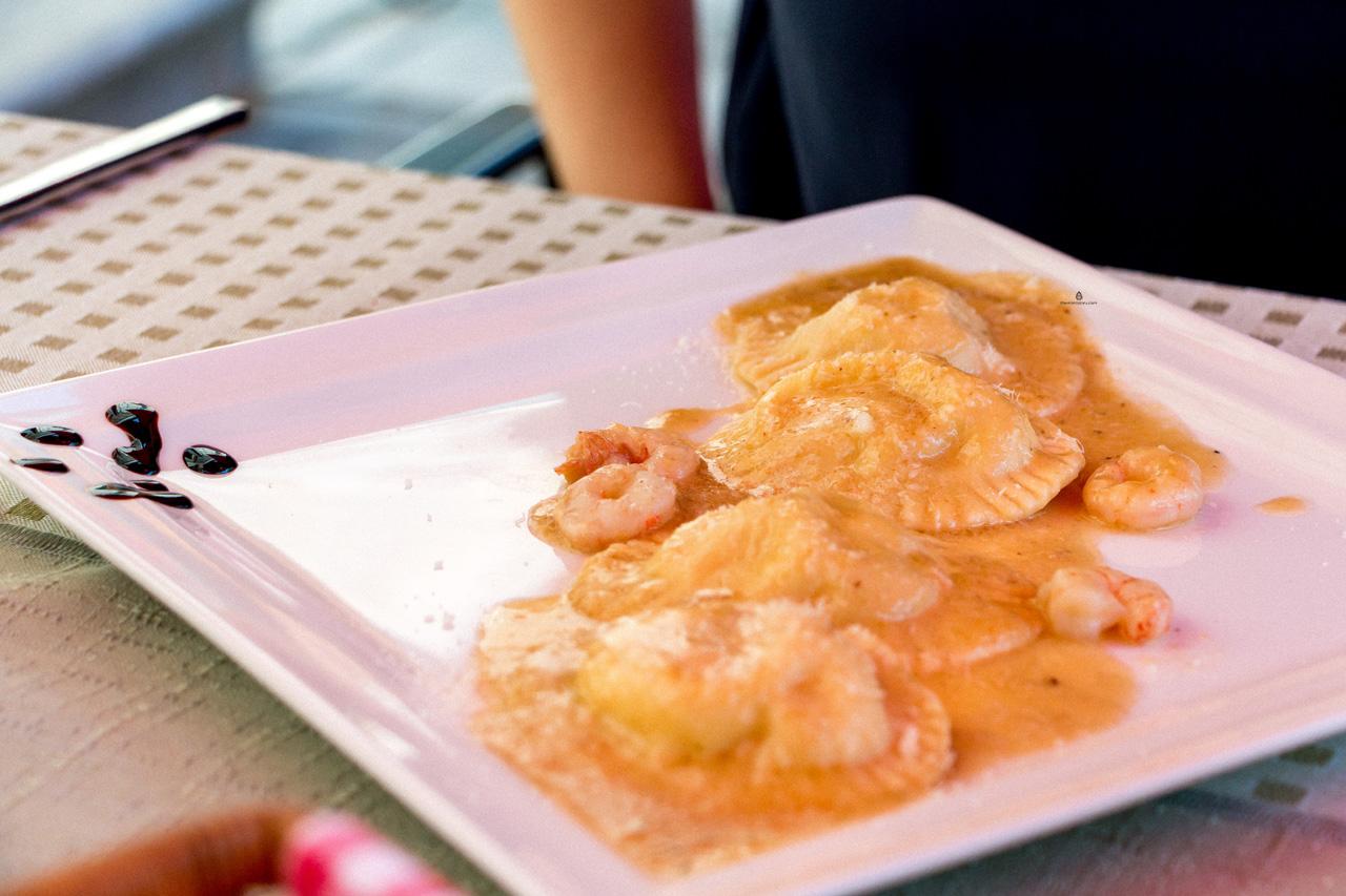 Seabass ravioli in La Parenzana restaurant, Istria