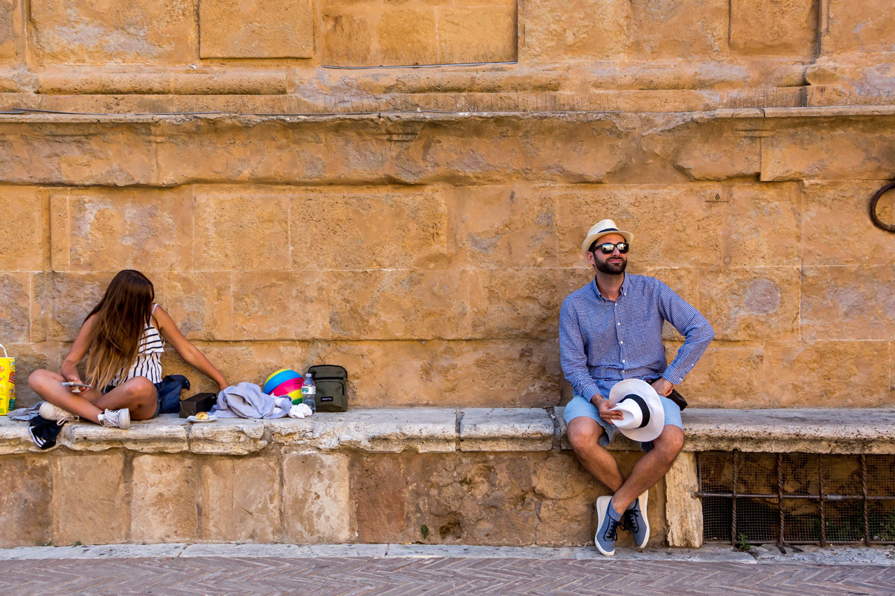 On the main square in Pienza, Italy