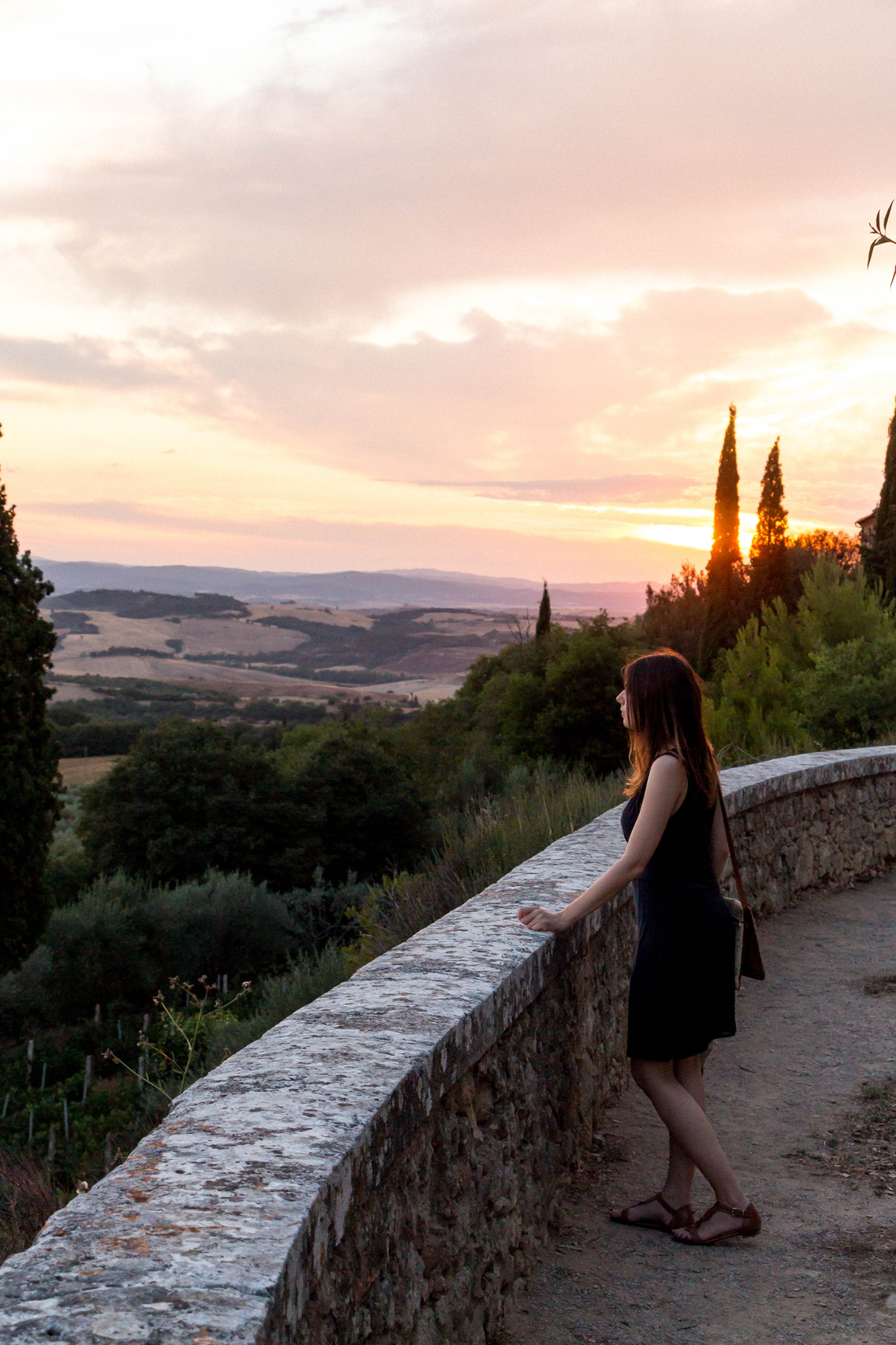 Sunset over the Val d'Orcia, seen from Pienza